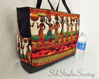 Tribal Diaper Bag, Zipper Closure, Lots of Pockets, 16.5 x 12.5 x 6 inches, Beautiful African Tribal Print with Black Faux Leather Bottom