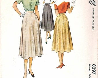 """Vintage 1950 McCall 8297 Misses 8 Gore Skirt Sewing Pattern Size Waist 24""""  UNCUT"""