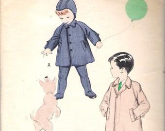 "Vintage 1953 Butterick 6323 Boy's Coat; Leggings & Helmet Sewing Pattern Size 1 Chest 20"""