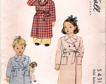 Vintage 1943 McCall 5431 WWII Child's Bathrobe Wartime Sewing Pattern Size 4 Breast 23""