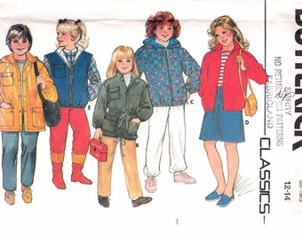 "Vintage 1980's Butterick 6804 Children's & Girls Jacket Sewing Pattern Size 12- 14  Breast 30"" - 32""  UNCUT"
