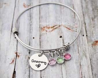 Charm Bracelet - Mother Bracelet - Personalized - Wire Bangle - Grandmother - Adjustable - Birthstone - Grammy-Gigi-Grandma-Hand Stamped
