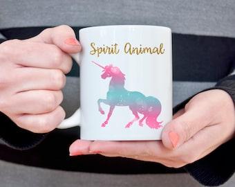 Unicorn Mug Unicorn Spirit Animal Christmas Gift for Her Gift for Girlfriend Coffee Mug Unicorn and Rainbows Funny Coffee Mug for Wife Gift