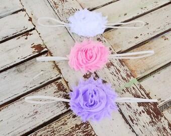 Set of Three Shabby Headbands- Girls Headband- Rosette Headband- Baby Headband- Baby Shower Gift