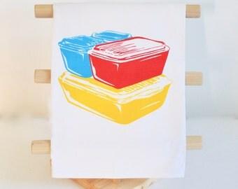 PYREX Primary Fridgies Cotton Flour Sack Tea Towel:  Red Yellow Blue Kitchen Linens