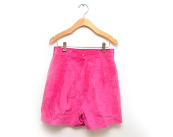 80s Hot Pink Leather Suede High Waisted Shorts Women's Size 10