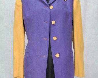 1940s Coat Purple Mustard Color Wool Vintage 1940s Jacket Medium Size
