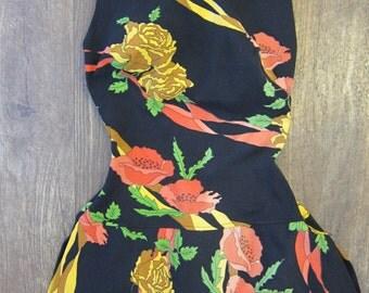 60s yellow pink green black rose poppy print skirted Rose Marie Reid bathing suit