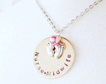 Nurse Midwife - Gift - Hand Stamped - Disk Necklace - Brass