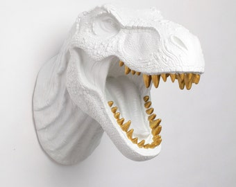T Rex Head White Dinosaur Wall Mount, The Bronson w/Gold Teeth, Resin T-Rex Head Wall Art White Faux Taxidermy, Dinosaur Head Jurassic Decor