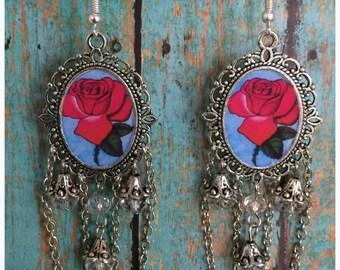 Loteria La Rosa Mexican Bingo Earrings