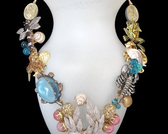 Cape Cod Flora and Fauna - a fabulous unique Wearable Art necklace designed from mainly vintage components. FREE SHIPPING to US!