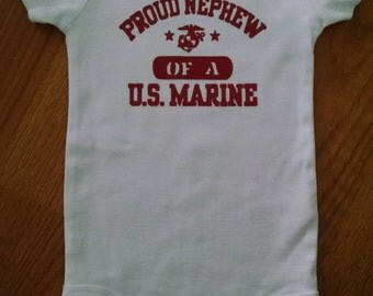 Proud Nephew of a US Marine Hand Painted Bodysuit