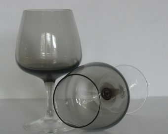 MCM Barware Cocktail Glasses Smokey Stemware Peill Cora-Smoke Crystal Cordial Glasses