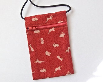 Pouch Zip Bag RABBIT on Burnt Orange Fabric. - Great for Walkers, markets, travel. Cell Phone Pouch. Bunny bag fabric purse. Tiny bunnies.