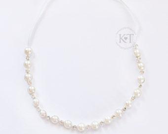 Ready to Ship- Ivory Pearl Rhinestone Headband- toddler, girl, child, toddler, pearls, flower girl, wedding, bride, bridesmaid