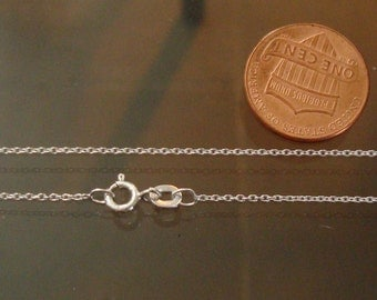 2 Pieces, Finished Sterling Silver Chain, 16 Inch, 1mm Cable Chain with Spring Ring, SFCH129