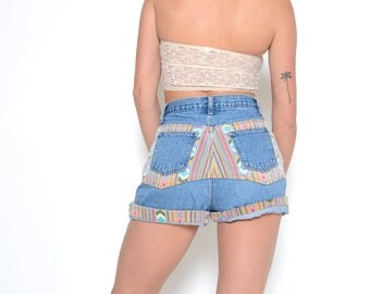 Vintage 80's Tribal Print High Waisted Jean Shorts 29W