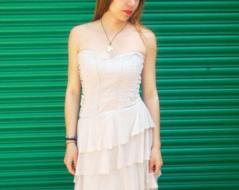 Upcycled Cream Strapless dress
