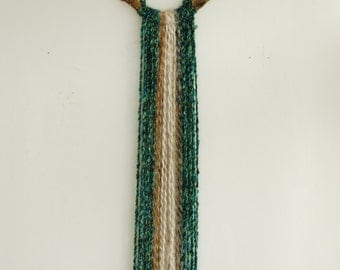 Antler Yarn Wall Hanging - Long Woven Tapestry Decor Natural Brown Tan Teal Green Blue White Woven Art Decoration Boho Shabby Chic Taxidermy
