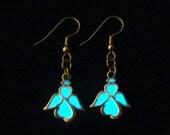 Tiny Angel Earrings Glow In The Dark Angel Jewelry Glowing Angel Earrings Antique Silver (glows aqua)