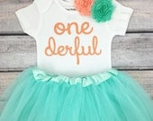 One-derful First birthday outfit girl peach and mint birthday outfit 1st birthday girl outfit Baby girl first birthday outfit Onederful