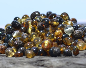 Baltic Amber beads with drilled hole. 500 pcs. - Best Amber Quality from Lithuania