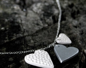 Three hearts necklace, silver and white ceramic jewelry