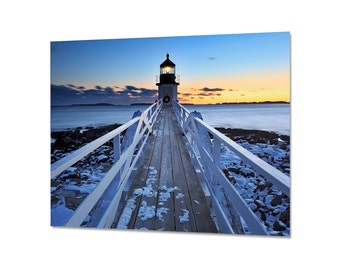Lighthouse Metal Print, Seascape Sunset Photography, Metal Wall Art, Port Clyde Maine, Marshall Point Lighthouse, Winter Snow, Blue Yellow