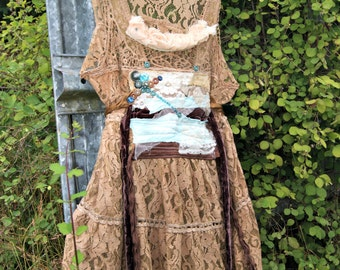 Wearable Art Lace Tunic, Altered Couture, Free People lace tunic, Lacey Creme Tunic, Stevie Nicks Lace, Upcycled Recycled Lace Tunic