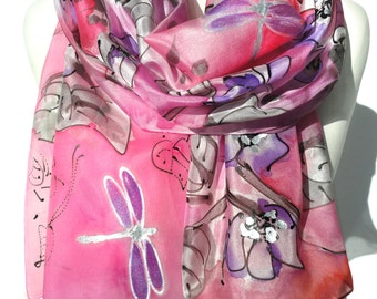 Hand Paint Silk Scarf. Pink Scarf. Birthday Gift for Her. Silk Painting. Wedding Scarf. Mom Birthday. Woman Scarf. 18x71in. Ready2Ship