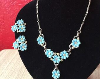 1950s Aqua Blue Flower & Rhinestone Necklace and Earring Set