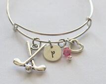 Golf Initial Bracelet - Charm Bracelet, Bracelet Charm, Golf Lovers Gifts, Golf Gift Ideas, Affordable Gifts, Sport Gifts, Goft Gifts, Golf