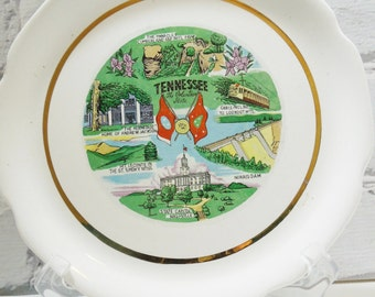 Tennessee Commemorative Plate. The Volunteer State. Great Smokey Mountains. Nashville. Lookout Mountain.  Collectible Plates. Americana.