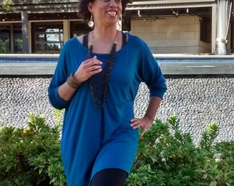 Teal Knit Boat Neck Tunic ~ Loose Fitting Long Sleeve Jersey Tee Shirt ~ All Colors / Sizes