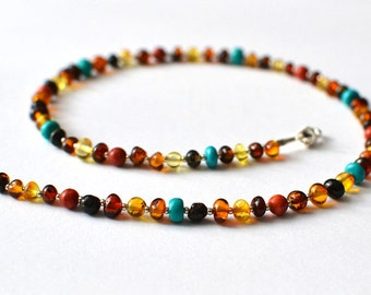 Amber Necklace / Coral Amber Turquoise Jewelry / Colourful Necklace