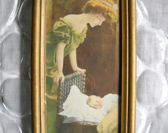 Vintage Print of Mother with  Sleeping Baby / Toddler