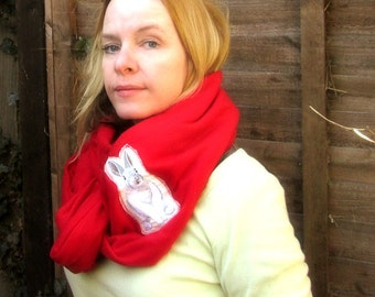infinity snood scarf in red fleece with bunny rabbit applique