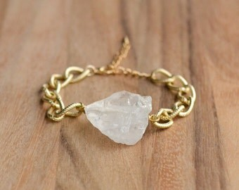 Chunky Raw Crystal Quartz Bracelet - Gold Plated Rough Quartz Bracelet - Uncut Gemstone Bracelet