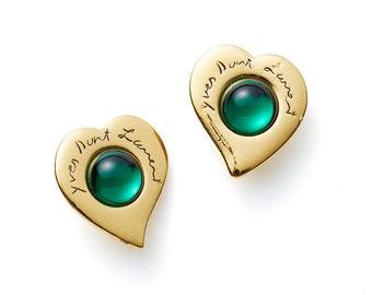 gorgeous vintage 70s/80s Yves Saint Laurent YSL green gold cabochon heart earrings