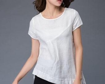 white linen T-shirt, irregular T-shirt, round neck ,loose fit  T- Shirt, casual women T-shirt C949