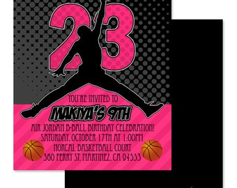 5X7 Air Jordan Invitation - You Print- Jumpman Invite | Air Jordan Party | Air Jordan Theme | Chicago Bulls | Baby Shower | Birthday Party