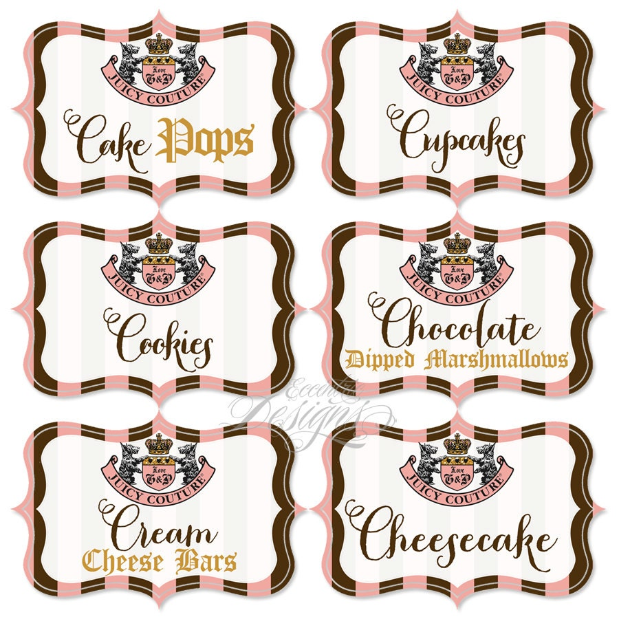 Juicy couture candy buffet labels you print juicy couture for Couture labels