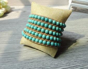 Turquoise wrap bracelet,turquoise beaded bracelet,leather wrap bracelet,multi strand leather bracelet,blue beads,women bracelet