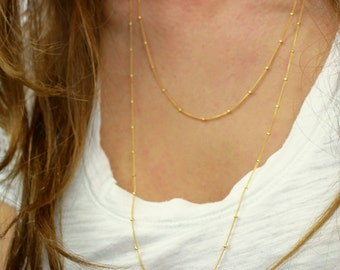 Silver or gold satellite necklace / Long silver necklace / Silver or gold layered necklace / Gold satellite necklace / Long gold necklace