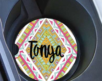 Gift for teen girl, Personalized tribal car coaster, Green pink gold, Cute car accessories for women, Monogrammed gift (1671)