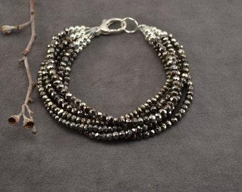 Pyrite Bracelet, Pyrite Jewelry, Multistrand Bracelet, Sterling Silver Bracelet, Silver Bracelet, Silver Beaded Bracelet, Sparkly Bracelet