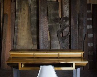 compact modern wood recording studio desk for composer producer designer creative