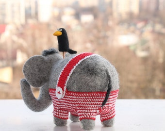 Needle Felted Toy-Gray elephant-Felt Toys