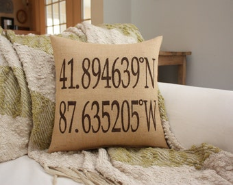 Coordinates Pillow Customizable for any city / Address / Location / Home Address Pillow / Longitude
